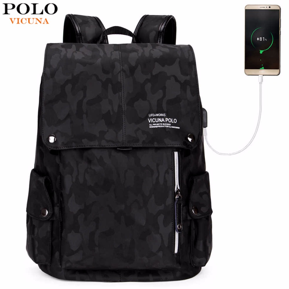 VICUNA POLO Fashion USB Charge Men Leather Backpack Casual Camouflage Drawstring Backpack School Laptop Backpack Travel Daypack vicuna polo men leather usb cable travel laptop backpack with headphone hole school backpack has front pocket bagpack mochila