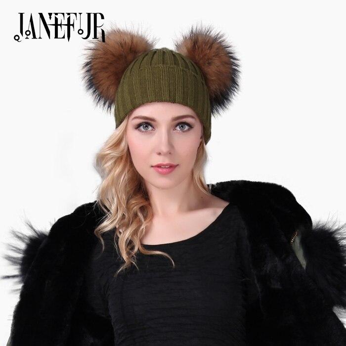 New Winter Natural Color Raccoon Fur Ball Pompon Hat Skullies Beanies Fur Ball Ski Cap 19cm Fluffy Fur Pompom Bobble Hat skullies