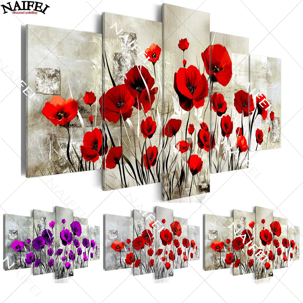 5pcs,diamond embroidery 5d diamond painting Red Purple Poppy Flower,full square diamond mosaic picture of rhinestones home decor