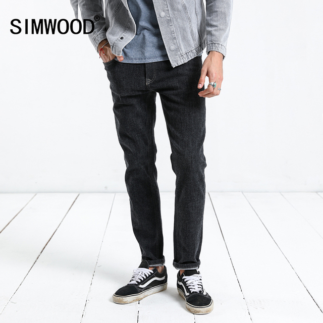 SIMWOOD 2018 Autumn Hot Sale New Jeans Men Skinny Jeans Denim Overalls Men Slim Fit Plus Size Fashion Trousers Plus Size 180144