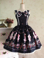 Elegant Lolita Woman Ladies Cosplay Lolita Black Printing Dress Lolita