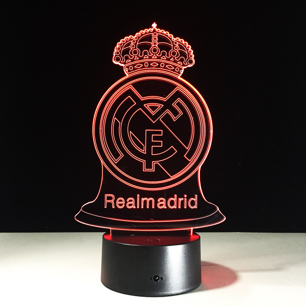 Real Madrid Football Trophy 3D Illusion Lamp Colorful Night Light Bedside Table Lamp Transparent Acrylic USB Flexible LED Lamp tryp madrid chamberi ex tryp alondras 3 мадрид