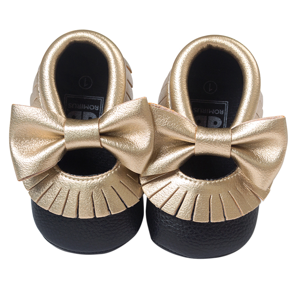 Baby Moccasins Soft Bottom Butterfly-knot Baby Shoes Tassels Baby Prewalkers Shoes Black and Gold 11cm