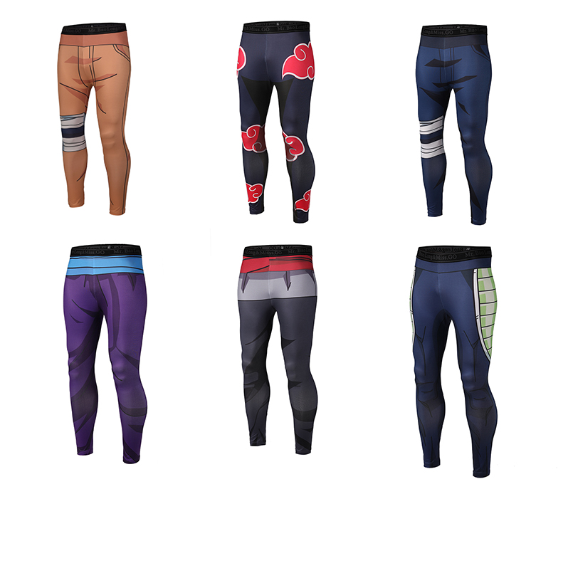Free shipping 3D Pants Fitness Quick Dry Pant Tight 3D Anime pants for Kakashi, Uzumaki Naruto; Sasuke,Kakarotto, bardock,vegeta