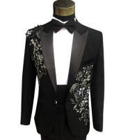 Latest Coat Pant Designs Black Applique Rhinestone Costume Men Suit Formal Slim Fit Prom Party Custom Blazer 2 Piece Terno Q11
