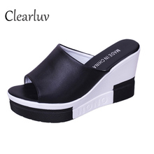 Summer new fish mouth wedges with muffin platform high heel sandals comfortable casual non-slip slippers size 35-40  C1277