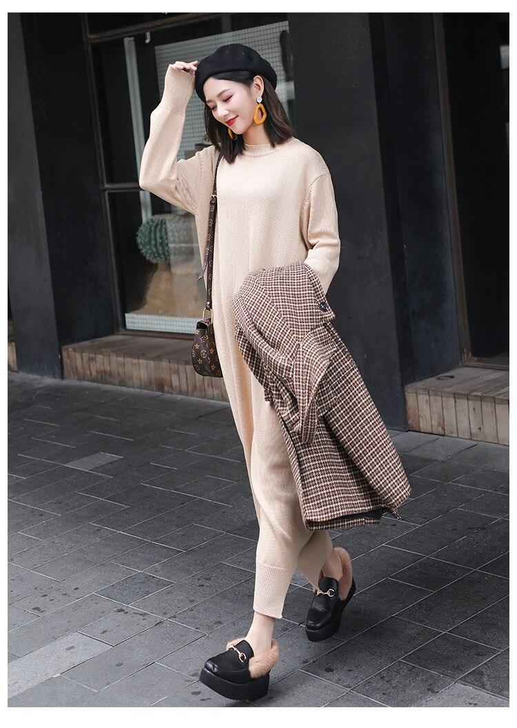 5863de6571334 US $27.0 |Long Sleeve Maxi Dress Women Autumn Winter Lazy Wind Casual Loose  Sweater Dress O Neck Bottom Slit Long Knitted Dress robe pull-in Dresses ...