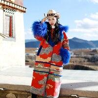 Винтаж в этническом стиле Тибет овец меховой воротник печатных свободные длинные толстые овечьей шерсти замшевое пальто для женщи