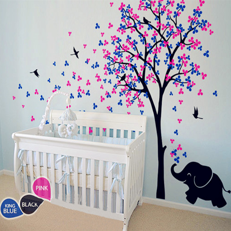 Aliexpress.com : Buy 2016 Huge Tree Wall Decal Flower ,Birds With Elephant Vinyl  Sticker Baby Nursery Bedroom Wall Decor Fashion Home Decoration From ...