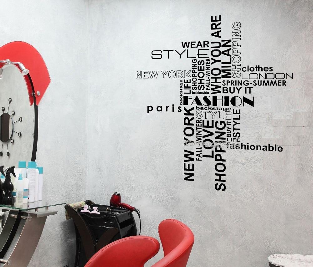 Salon Style New Yorkais us $7.97 25% off|fashion style wall stiker penawaran kecantikan rambut  salon belanja wanita removable lengket vinyl decal art home decor wanita  ruang
