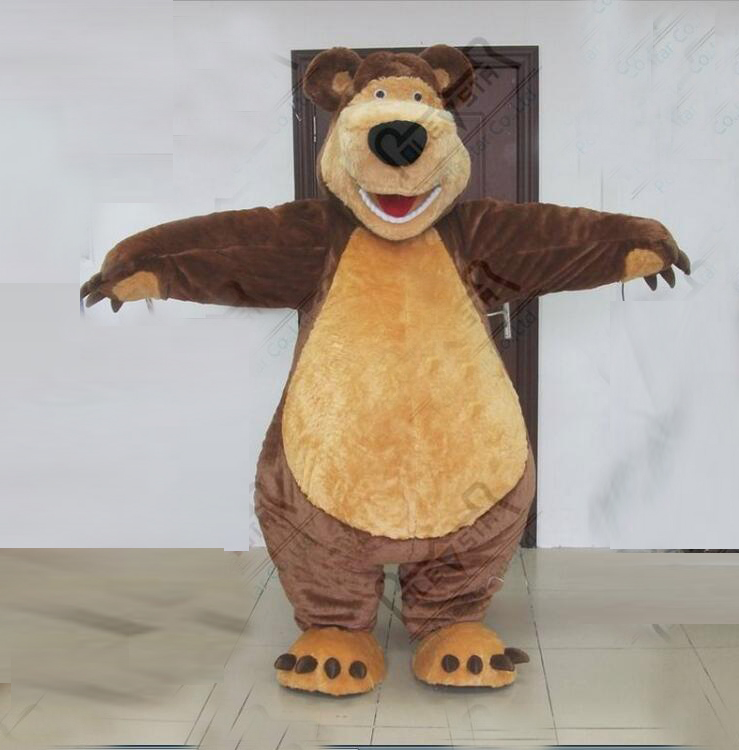ohlees actual picture usra masha bear grizzly Mascot costume for Halloween party Fancy christmas adult size head outfit