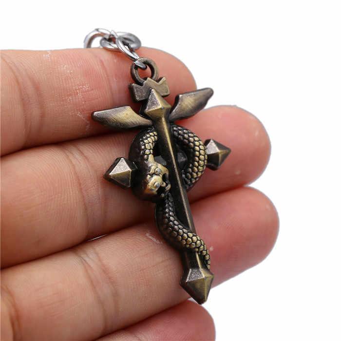 อะนิเมะ Fullmetal Edward Alchemist โลโก้งูบรอนซ์พวงกุญแจพวงกุญแจโซ่แหวนโลหะ Chaveiro Porte Clef เครื่องประดับ