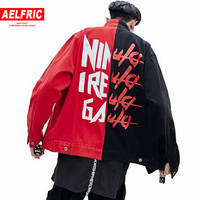AELFRIC Drop Shipping Men Jacket Hip Hop Outwear Color Block Patchwork Streetwear Fashion Jean Denim Jackets Coats S XXL RK06