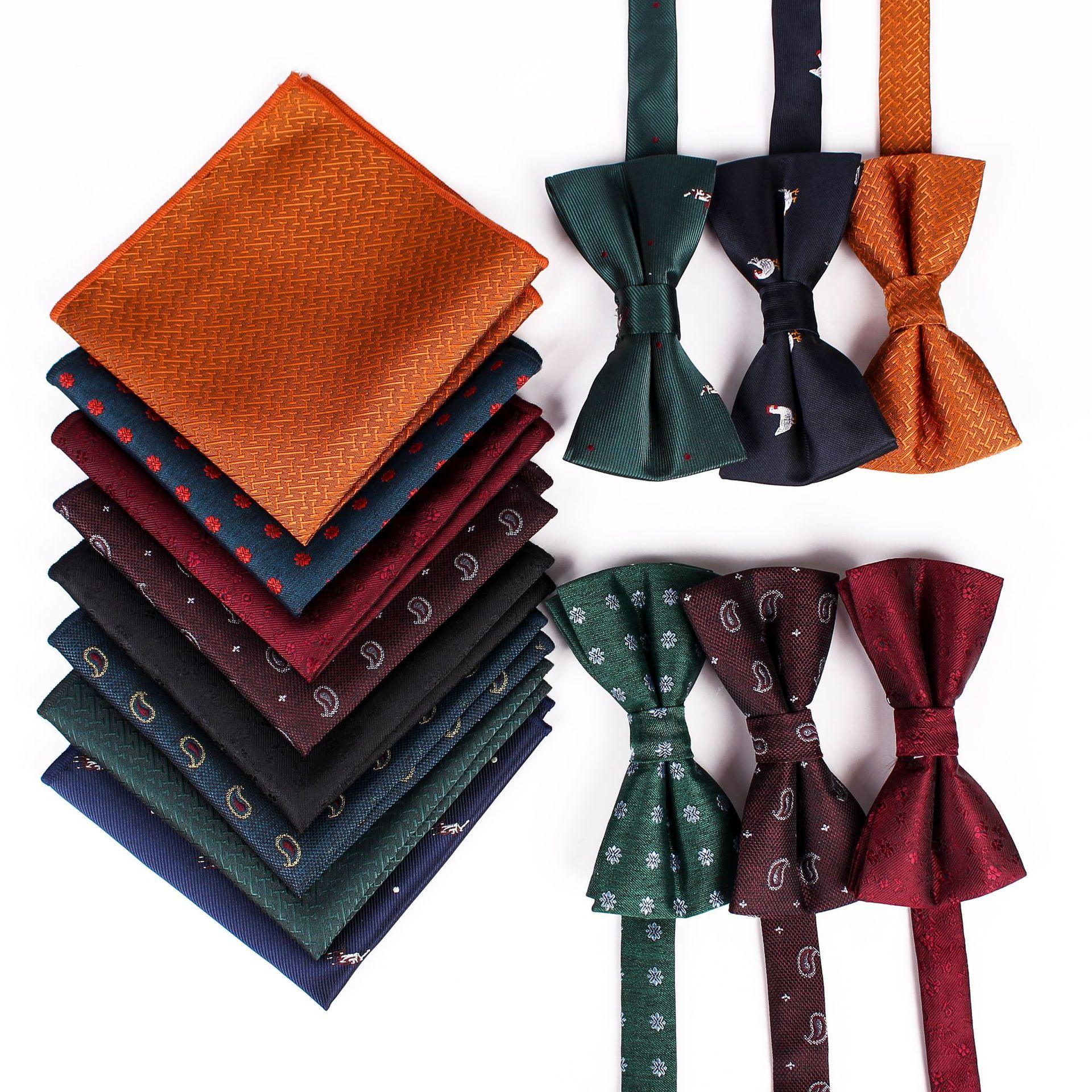 Upscale Men's Bow Tie Pocket Scarf Set Silk Jacquard Party Business Casual  Pocket Scarf Bowtie Wedding Prom Groomsmen Groom