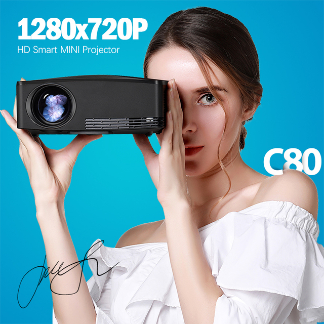 AUN MINI Projector C80UP, 1280x720P Resolution, Android WIFI Proyector, LED Portable 3D Beamer for 4K Home Cinema, Optional C80 1