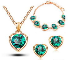 2014 New Arrival 18K Gold & Silver Plated Crystal Heart Shape Fashion Costume Jewelry Sets for Women Necklace Earrings Sets 1331