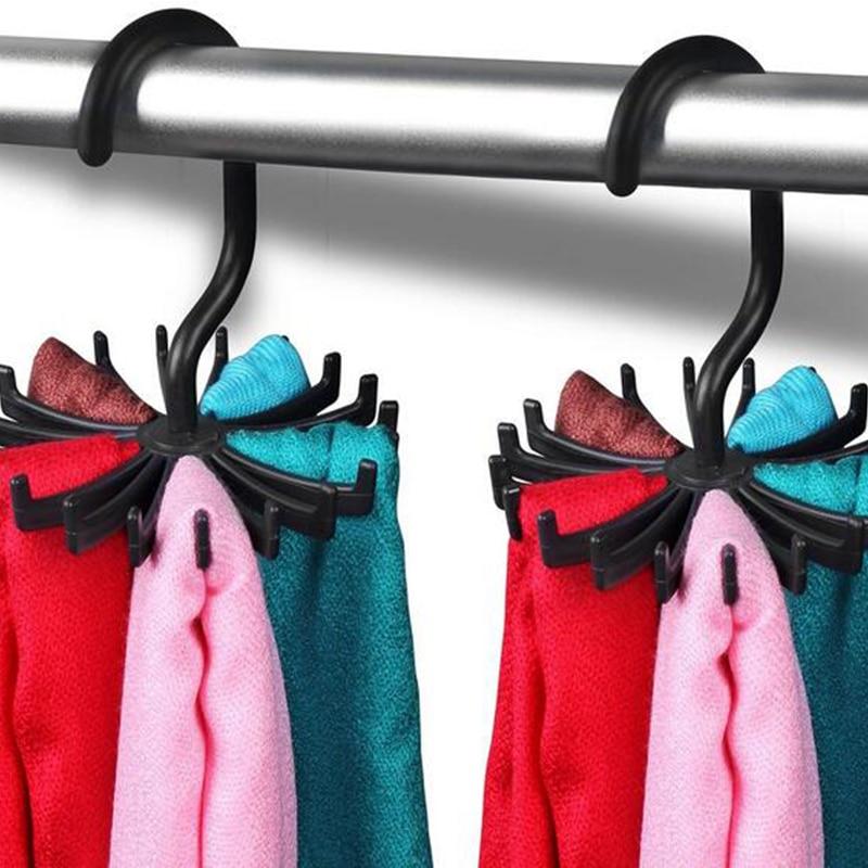 New Multifunction White/Black Plastic Tie Rack Rotating Hook Tie Holder 1 Piece Holds 20 Ties/Belts/Scarves Hanger