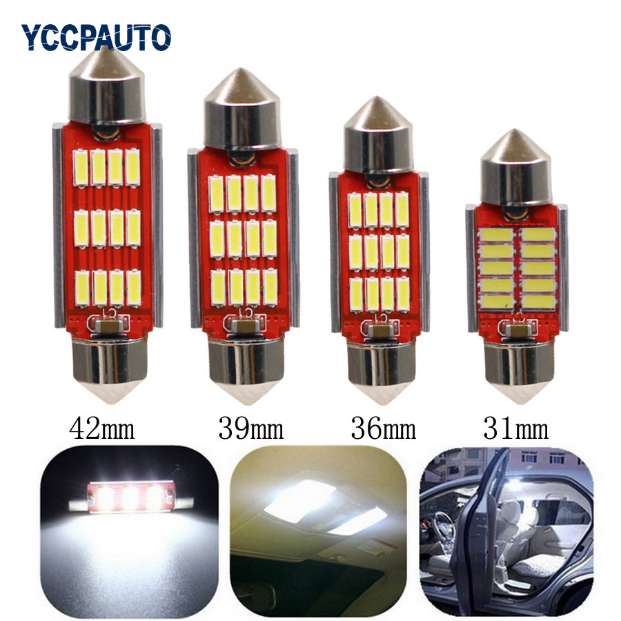 Festoon Dome Reading Light C5W C10W SV8.5 White Bulb 4014 12 SMD CANBUS NO Error Auto Led Interior Lamp Car DC12V 4PCS high quality 31mm 36mm 39mm 42mm c5w c10w super bright 3030smd car led festoon light canbus error free interior doom lamp bulb