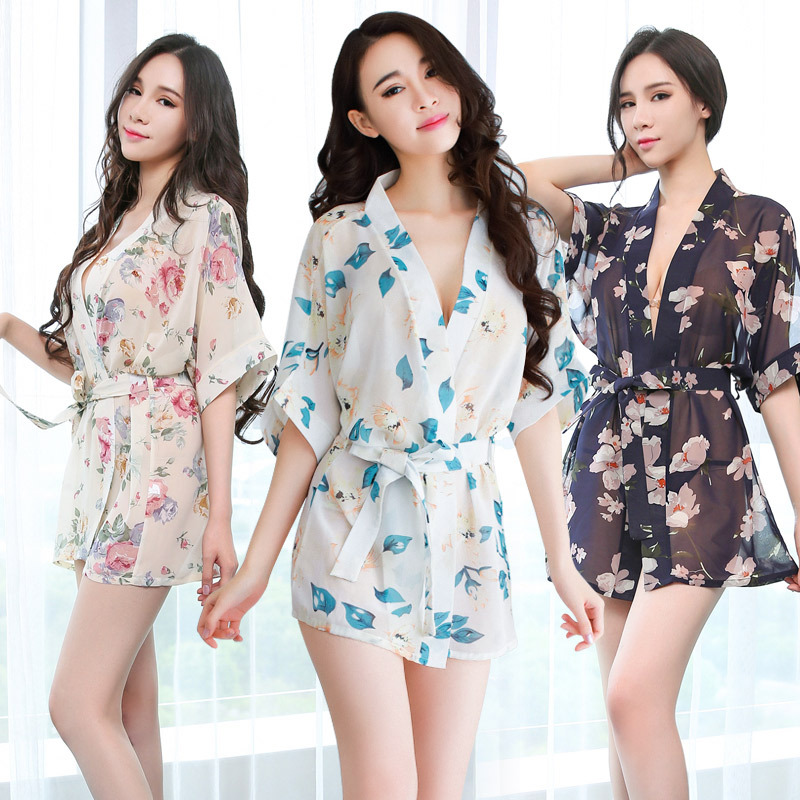 Sexy Lingerie Ladies Uniform Temptation Print Chiffon Sexy Nightdress Fun Pajamas Set Erotic Underwear Perspective Clothing