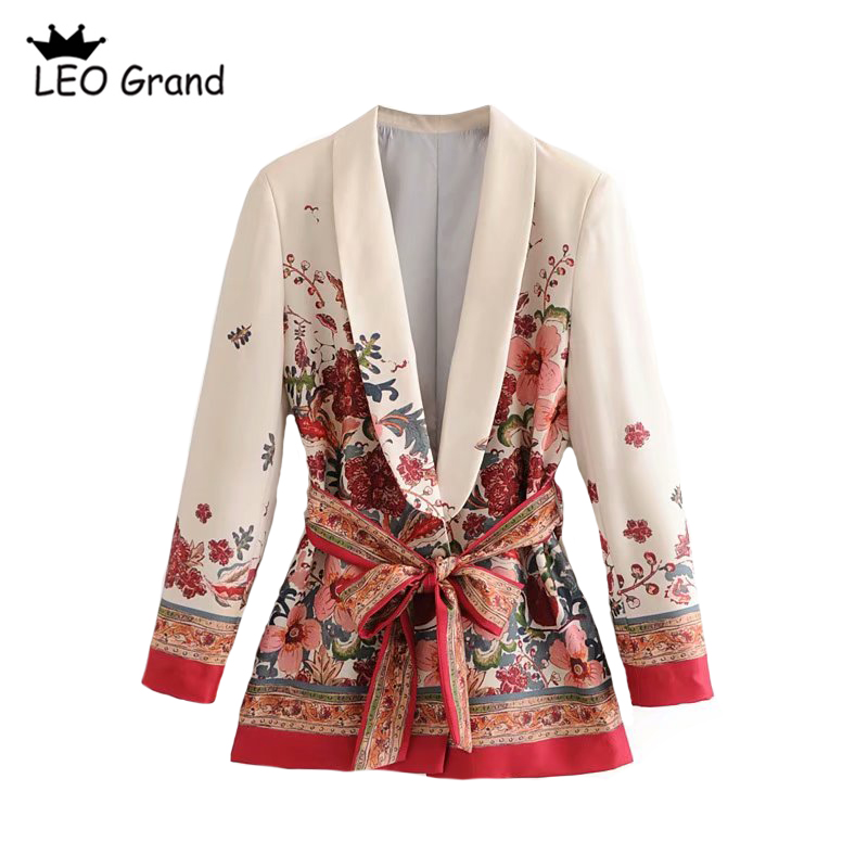 Leo Grand women vintage floral printed coats notched collar bow tie sashes outerwear ladies casual chic outerwear blazer 915006