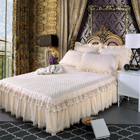 Europe Style Beige Crystal velvet Thick Bedding Bed skirt Pillow cases 1/3pcs Princess Lace Bedspread Bed sheet Queen King Size