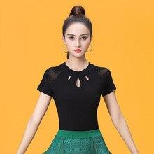 Korte Mouwen O hals Uitsparing Moderne Sexy Latin dance kleding top voor vrouwen/vrouwelijke, ballroom tango Kostuum prestaties draagt YT0501