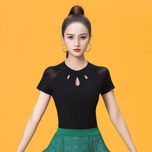 Short Sleeve O neck Cutout Modern Sexy Latin dance clothes top for women/female,Ballroom tango Costume performance wears YT0501