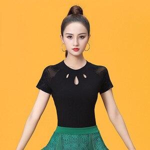 Image 1 - Short Sleeve O neck Cutout Modern Sexy Latin dance clothes top for women/female,Ballroom tango Costume performance wears YT0501