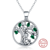 925 Sterling Silver Fashion Jewelry Clear Green CZ Rely Tree Of Life Women S Pendant Necklaces