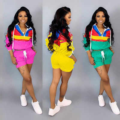 2019 hot  Zipper Up Patchwork Long Sleeve Trench Shorts Drawstring Suit 2 Piece Set Sporting Safari Tracksuit Outfit 5 Colors
