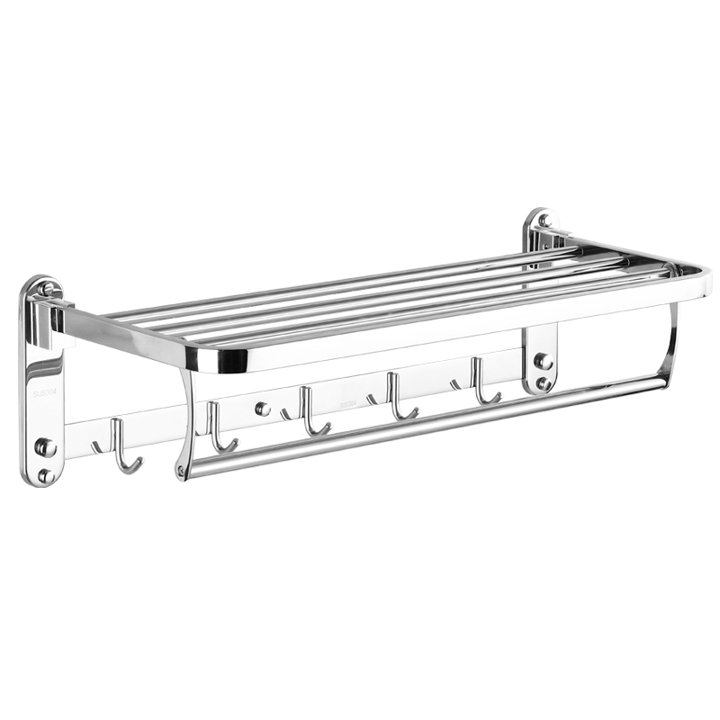 SUS 304 Stainless Steel Silver Smooth Mirror Electroplate Towel Rack Active Bathroom Towel Holder Double Towel Shelf with Hooks wall mounted bathroom towel holder foldable towel rack 60cm stainless steel towel shelf with hooks