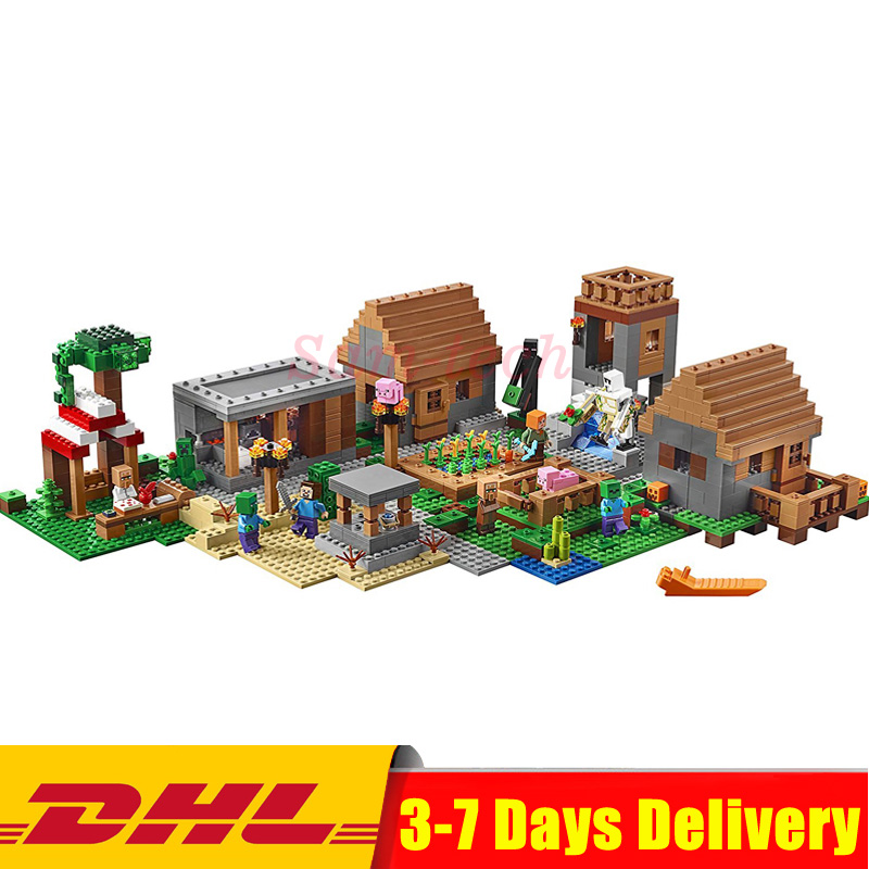 цена DHL Compatible 21128 My worlds The Village Lepin 18008 Model Building Kits Blocks Kid Bricks Toys For Children Gifts