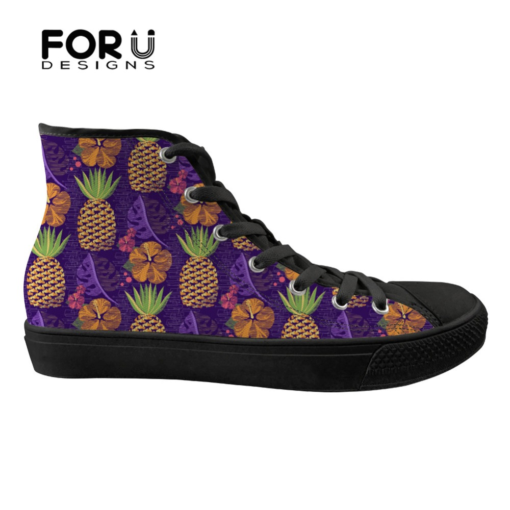 FORUDESIGNS Classic High Top Flats Ladies Shoes Fashion Pineapple Design Casual Womens Sneakers Shoes Woman Vulcanized Shoes FORUDESIGNS Classic High Top Flats Ladies Shoes Fashion Pineapple Design Casual Womens Sneakers Shoes Woman Vulcanized Shoes