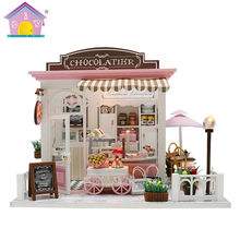Hoomeda New arrival Miniature Wooden Doll House With DIY Furniture Fidget Toys For Kids Children Birthday Gift Coffee House C007(China)