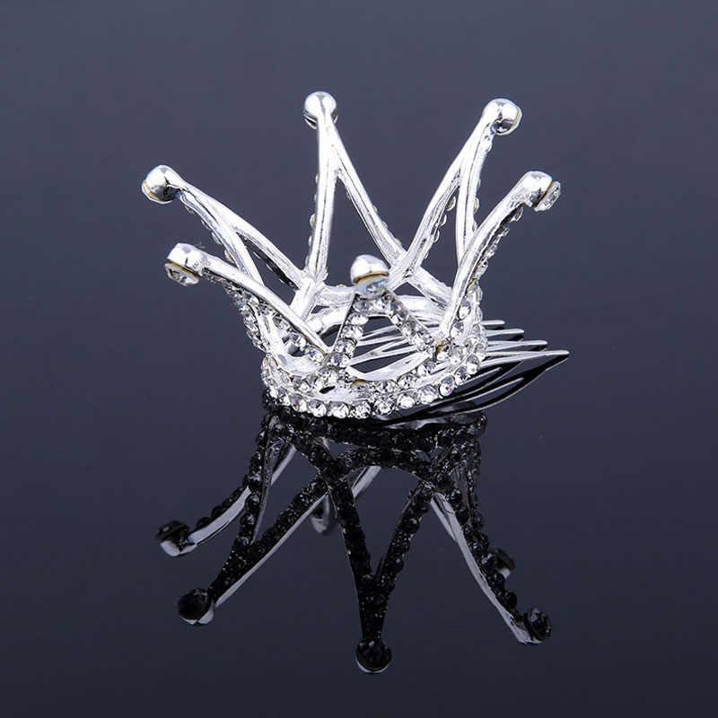 Мини Круглый кристаллический горный хрусталь тиары и корона для конкурса выпускного вечера принцесса гребень тиара Корона Свадебные аксессуары для волос для женщин
