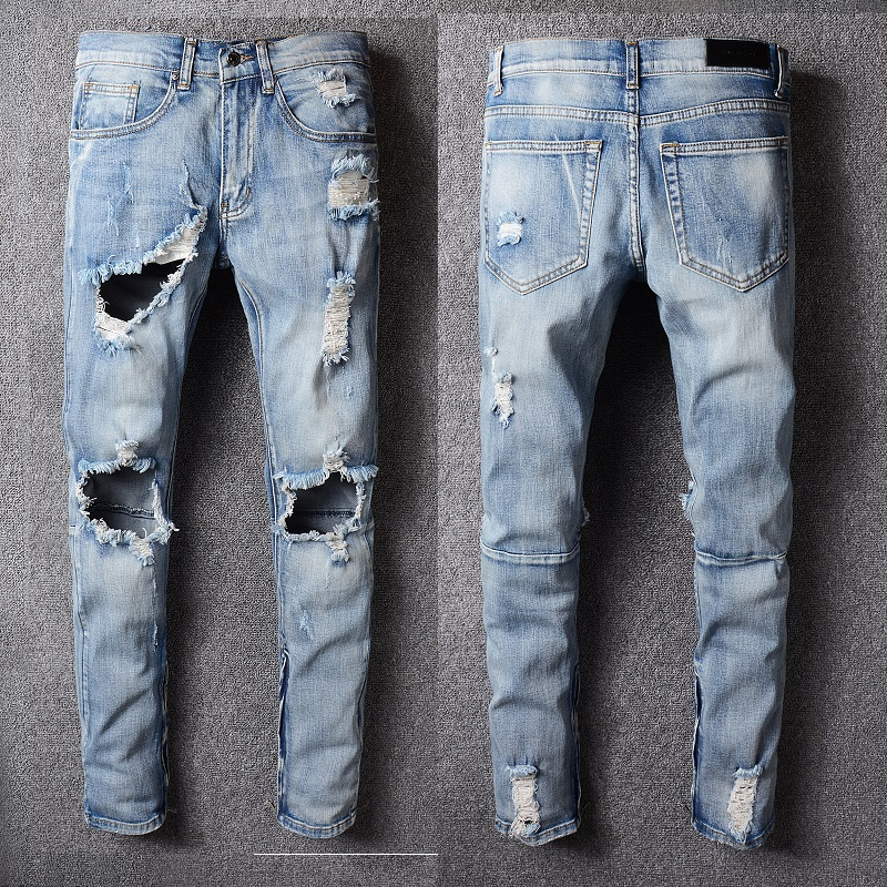 2018 Best version 1:1 fear of god FOG Men zipper destroyed skinny slim fit justin bieber white Brand denim jeans Plus Size 29-40 fashion mens hip hop ankle zipper biker denim pants justin bieber jeans fear of god version designer destroyed ripped jeans