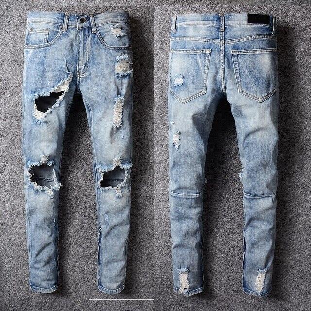 15cb98053427 2018 Best version 1 1 fear of god FOG Men zipper destroyed skinny slim fit  justin bieber white Brand denim jeans Plus Size 29-40
