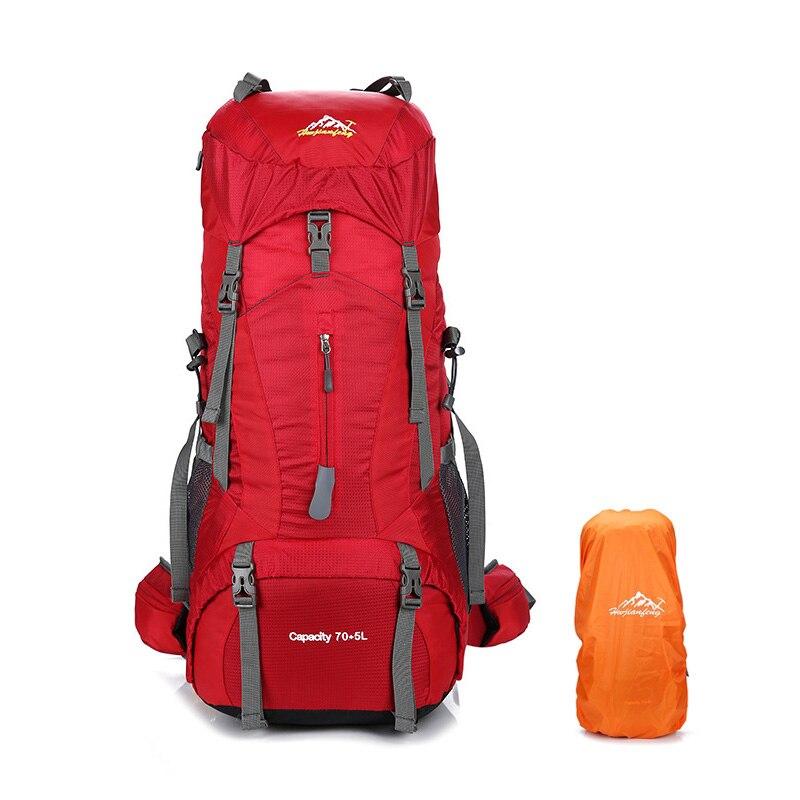 95633fa6ea 75L gran capacidad Camping senderismo mochila con cubierta de lluvia hombres  mujeres Trekking escalada mochila resistente al agua bolsa de viaje