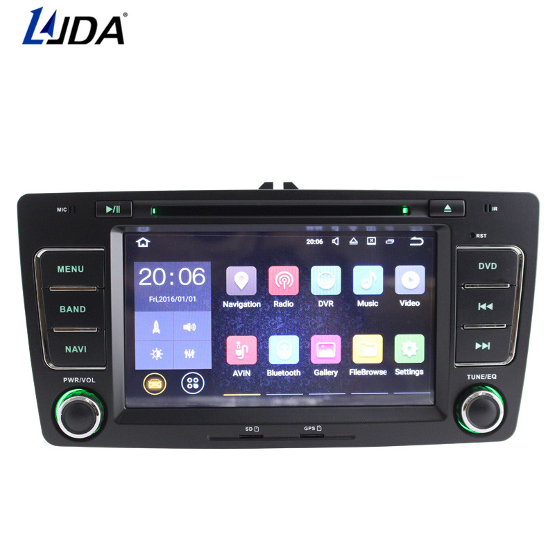 LJDA 2 Din Android 7.1 Car DVD Player For SKODA OCTAVIA 2009-2013 Bluetooth WIFI GPS Navigation Radio Multimedia Canbus SWC AUX