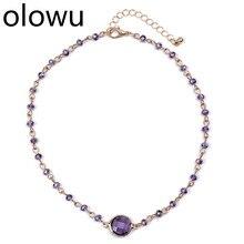 Olowu Новинка золотистый цвет пурпурный колье на ключицу модное ожерелье с кристаллами геометрические бусы ожерелье из натурального камня s