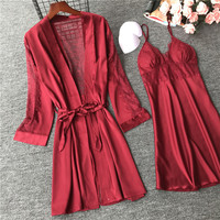 Sexy Women's Robe & Gown Sets Lace Bathrobe Night Dress 4 Four Pieces Sleepwear Womens Sleep Set Faux Silk Robe Femme Lingerie
