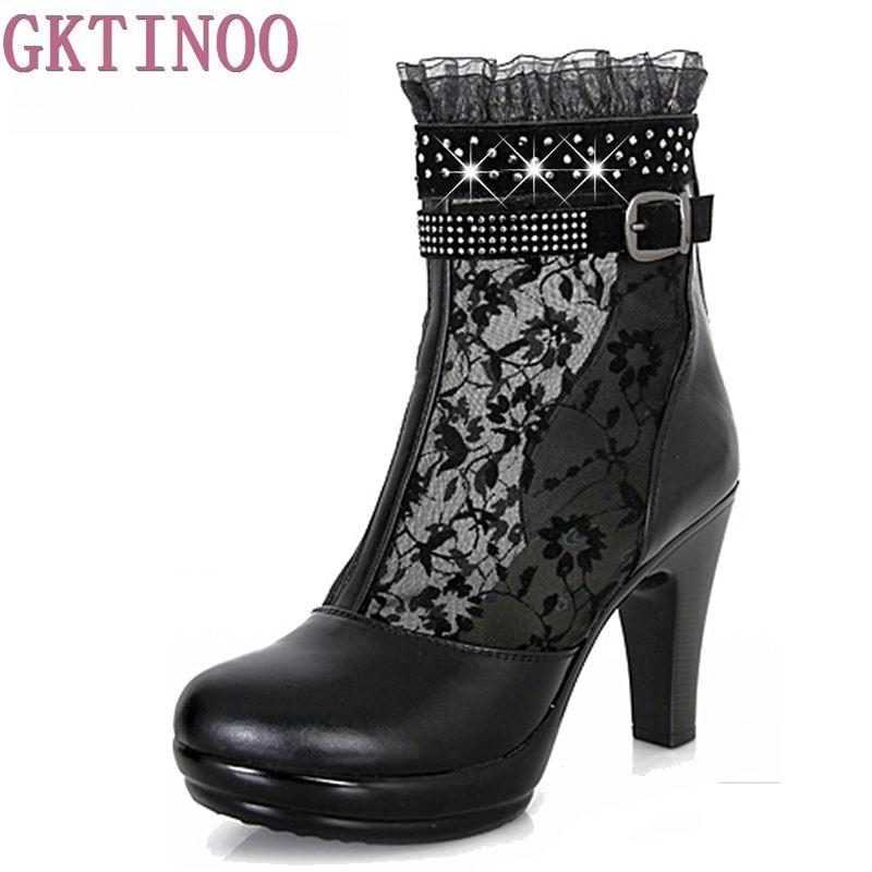 где купить GKTINOO women summer 2018 ankle boots for women black ankle womens boots genuine leather lace autumn spring high heel boots по лучшей цене