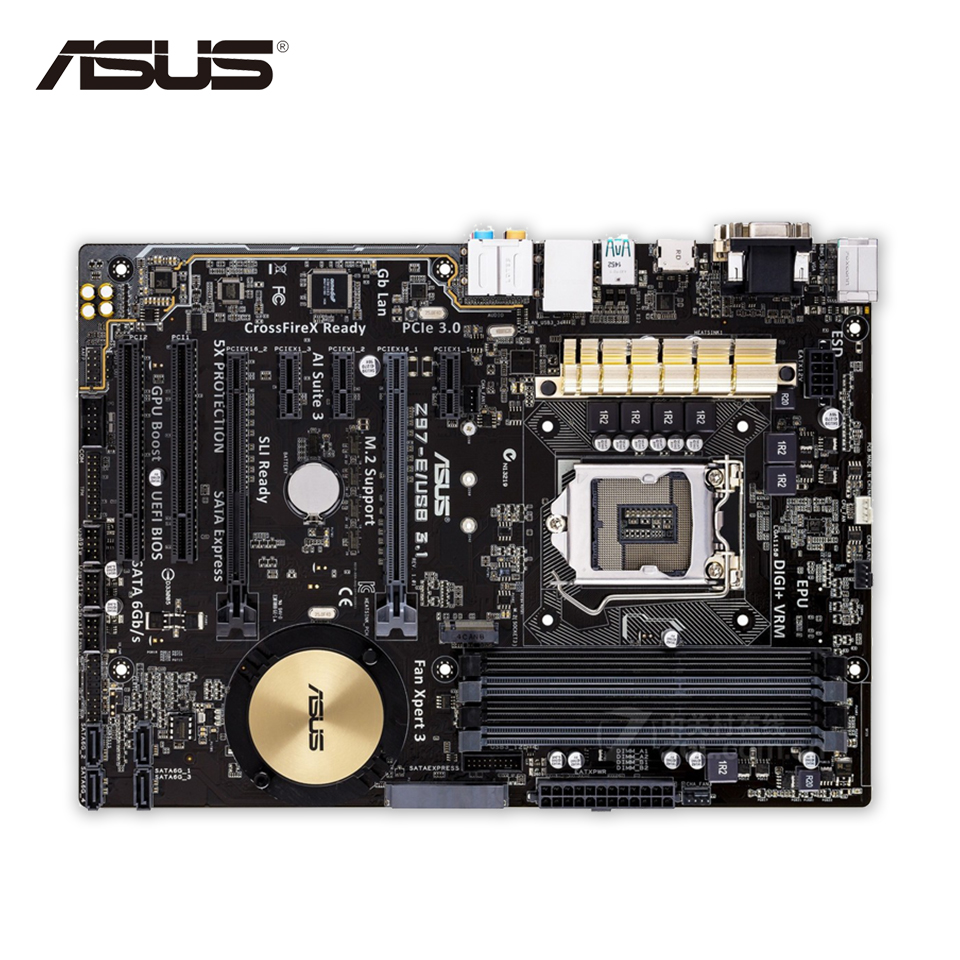 Asus Z97-E-USB3.1 Desktop Motherboard Z97 Socket LGA 1150 i7 i5 i3 DDR3 SATA3 USB3.0 ATX Second-hand High Quality
