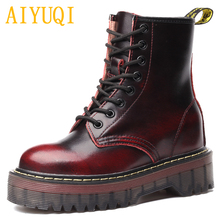 AIYUQI Female Martin boots 2019 spring new genuine leather womens booties, fashion with thick bottom and plush women