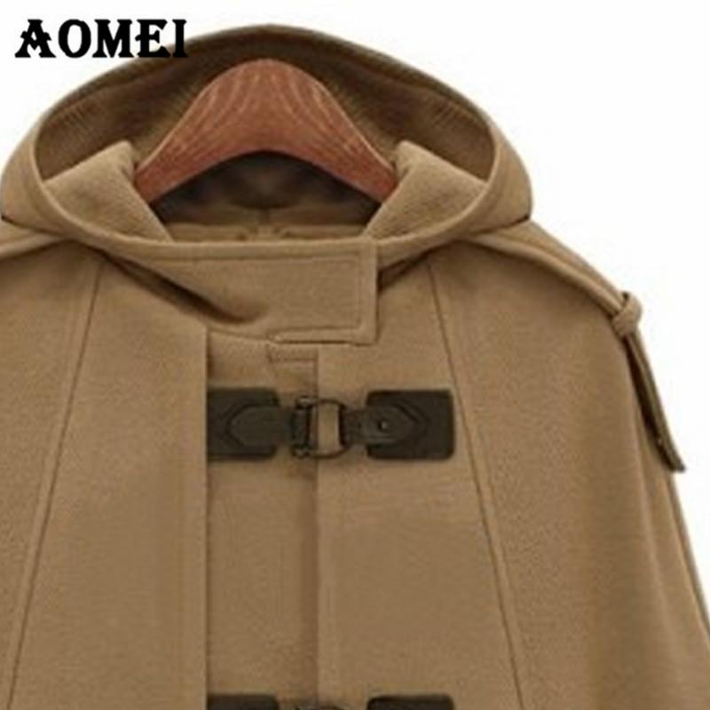 Женская осенне-зимняя шерстяная накидка, плащ с капюшоном и карманом, теплая Женская Осенняя верхняя одежда в Европейском стиле, Manteau Femme