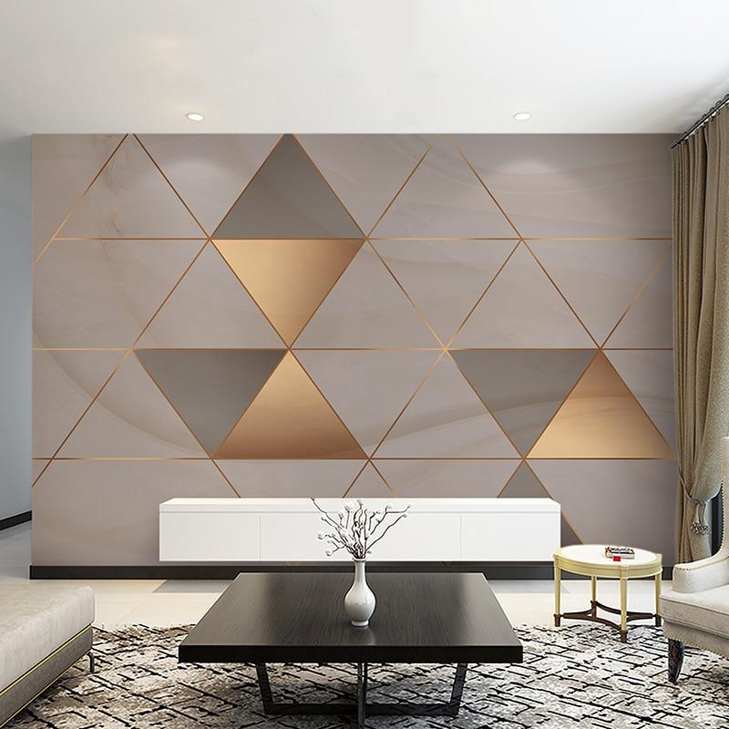 Bacaz Gold Line Concrete Texture Modern Geometry Wallpaper