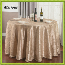 Marious 10pcs 120/305cm Round Pintuck Taffeta Wedding Party Tablecloth Decoration Banquet free shipping