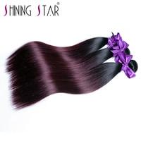 3 Pieces Ombre 100 Brazilian Straight Human Hair Weave Bundles 1B 99J Burgundy Shining Star NonRemy