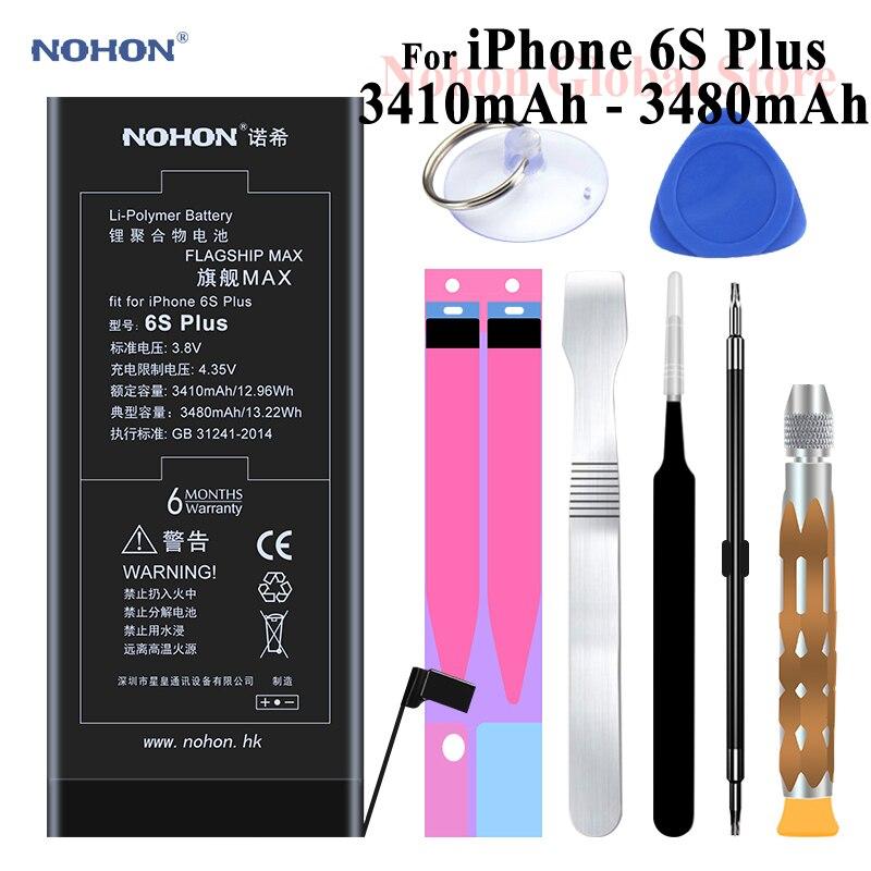 Nohon Batterie Pour Apple iPhone 6 s Plus 3410 mAh 3480 mAh 6 sPlus 6sP 3.8 V Haute Réel Max Capacité Bateria Paquet + Livraison De Réparation outils