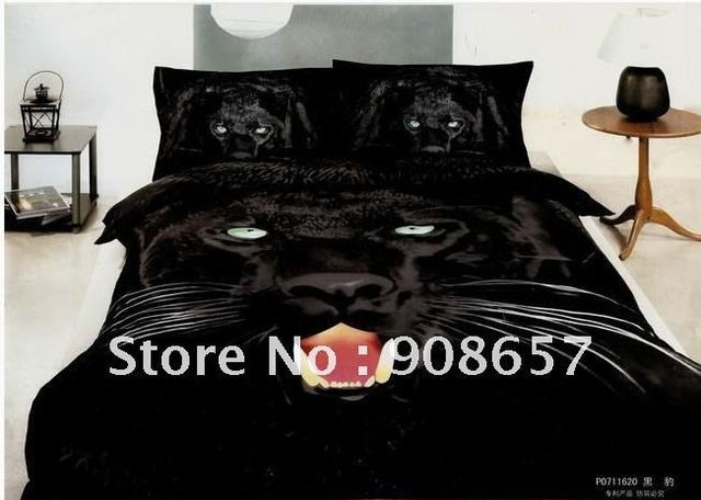100% cotton black sexy leopard printed bedding sets queen sizes 3d panther animal comforter/quilt covers sets 4pc bedspreaad boy